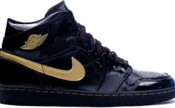 Air Jordan 1 patent leather black / gold authentic