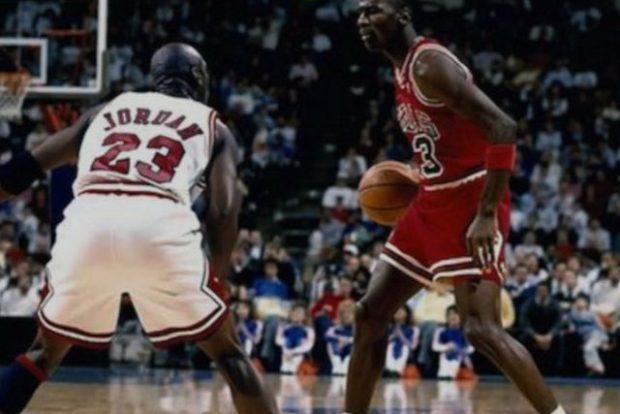 Michael Jordan guarding himself